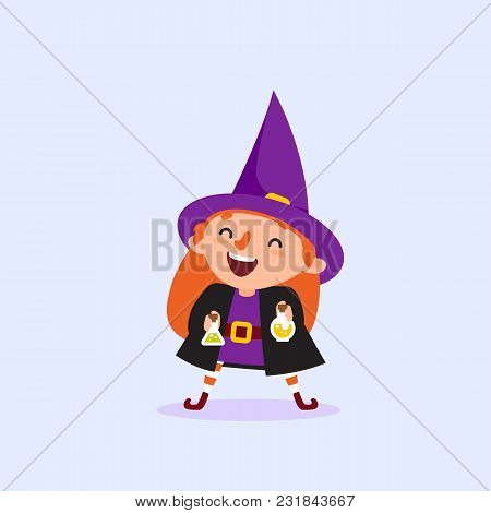 Halloween Witch Laughs And Holds The Bottle With The Potion Girl In Witch Costume Funny Character Is