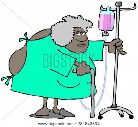 Illustration Of An Old Black Woman Wearing An Open Back Hospital Gown And Pushing An Iv Cart.