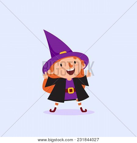 Halloween Witch Holding Thumbs Up Gesture Of Approval Girl In Witch Costume Funny Character Isolated