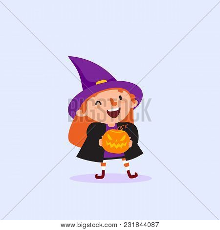 Halloween Witch Holding Pumpkin In Hands And Laughing Funny Character Girl In Witch Costume Isolated