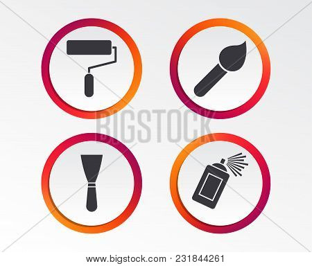 Paint Roller, Brush Icons. Spray Can And Spatula Signs. Wall Repair Tool And Painting Symbol. Infogr