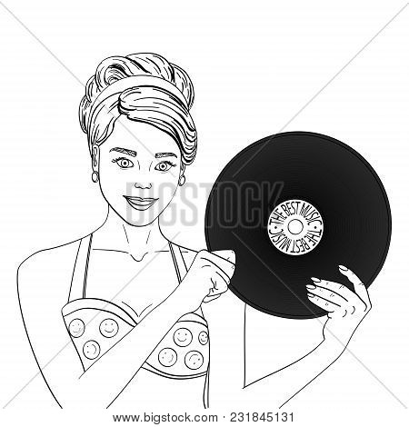 Pop art happy young woman with a phonograph record. Musical plate vector illustration. Imitation comic style. Object Coloring book poster
