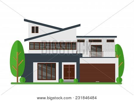 Vector Illustration Of Beautiful Modern Real Estate House. Family Dream Home. Architect Business Con