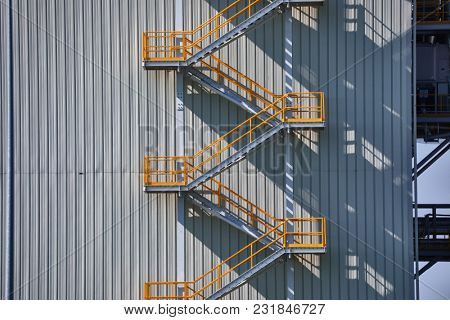Metal staircase on industrial exterior
