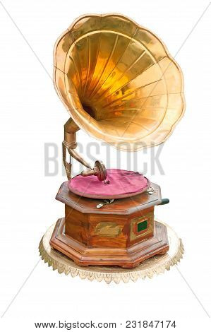 Gramophone With Brass Trumpet Isolated On White Background.