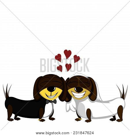 Little Dog - Lovely Little Dachshunds In Love (just Married)