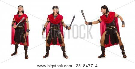 Gladiator with sword isolated on white
