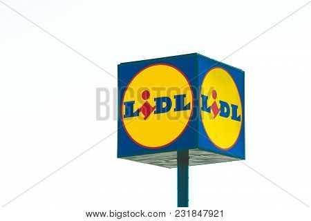 Finestrat, Spain - March 9, 2018: Sign Of Lidl Supermarket. Lidl Is A German Supermarket Chain With