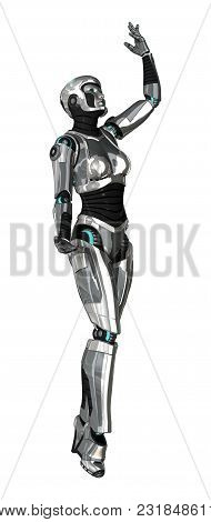 3D Rendering Female Robot On White