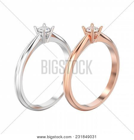 3d Illustration Isolated Two Rose And White Gold Or Silver Traditional Solitaire Engagement Diamond