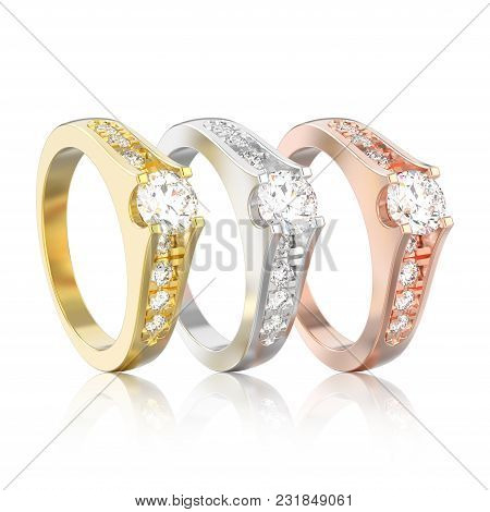 3d Illustration Isolated Three Different Gold Or Silver Decorative Engagement Wedding Diamond Ring W
