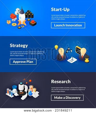 Startup Strategy And Research Banners Of Isometric Color Design, Concepts Vector Illustration For We