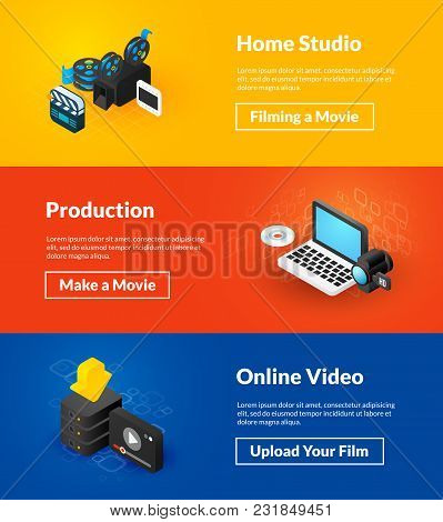 Home Studio Production And Online Video Banners Of Isometric Color Design, Concepts Vector Illustrat