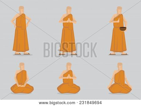 Monks Wearing Simple Yellow Robe In Saying Prayer And Meditating In Standing And Sitting Positions.