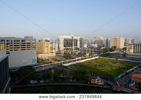 Malacca, Malaysia - March 13,2018 : Aerial View Of Malacca Town.malacca Was Listed As A Unesco World