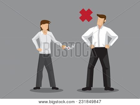 Cartoon Man With A Red Cross Sign Standing In Front Of A Woman With Lit Cigarette In Her Hand. Vecto