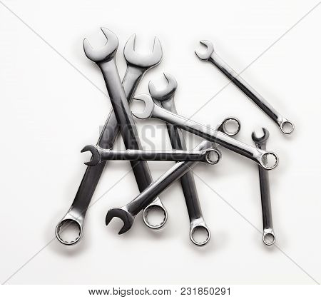 Set Of Shiny Chrome Spanners On White Background