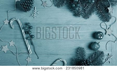 Christmas Candy And Treats On The Table Monochrome Blue Poster.