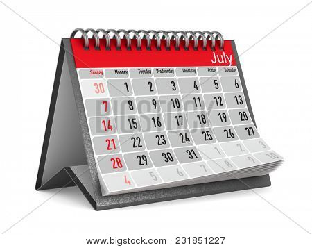 Calendar for July. Isolated 3D illustration