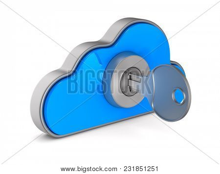 Cloud with lock on white background. Isolated 3D illustration