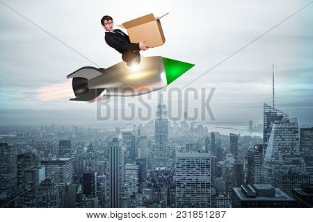 Businessman in fast delivery service