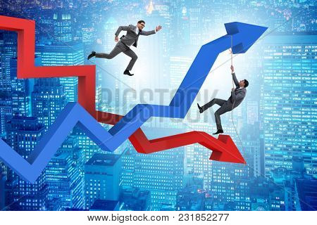 Business concept of both crisis and recovery