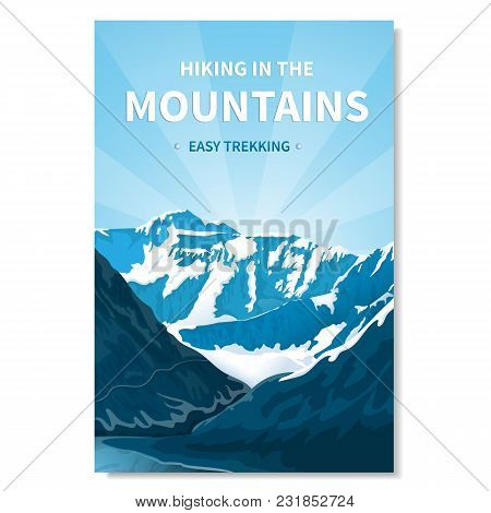 Mountain Landscape-vertical Banner, Poster With Text. Kind Of Rocky Terrain. Gorge Of The River, Bri