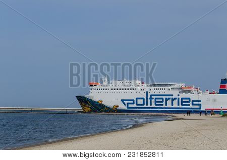 Swinoujscie, West Pomeranian / Poland - 2017: The Cracovia Passenger Ferry Leaves Harbor For A Cruis