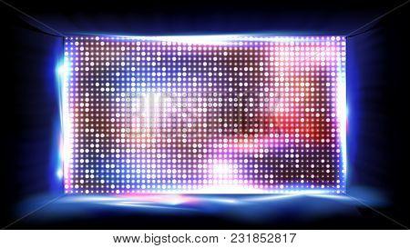 Screen Led Vector. Brilliant Beam. Big Board. Glowing Illuminated Led. Illustration