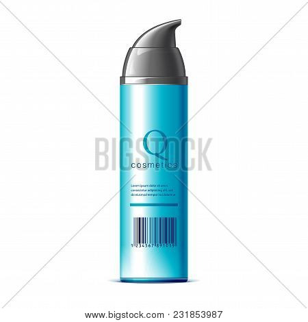 Realistic Cosmetic Bottle Dispenser On A White Background. Cosmetic Package For Cream, Soups, Foams,