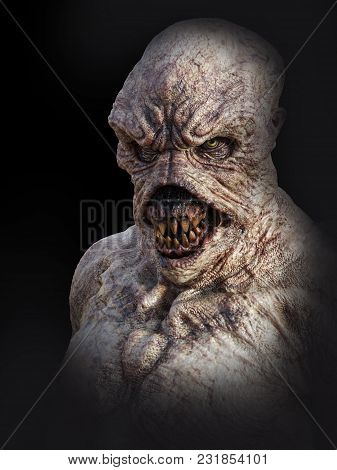 Portrait Of A Daemon Monster Creature Looking Angry, 3d Rendering. Black Background.
