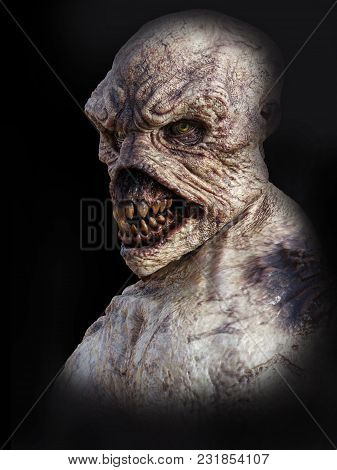 Portrait Of A Daemon Monster Creature, 3d Rendering. Black Background.