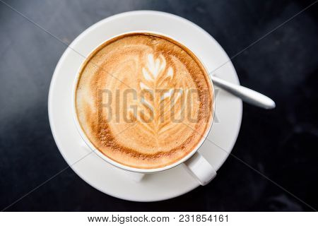 Top View White Mug With Delicious Cappuccino On Restaurant Table