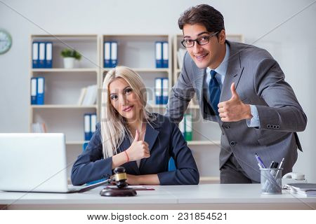 Lawyer discussing legal case with client