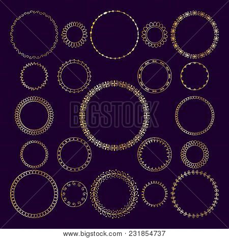 Vector Set Of Round Decorative Frameworks, Banners. Golden Geometric Frame