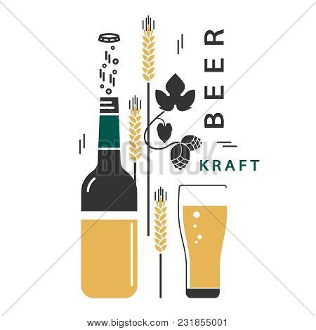 Beer Bottle And A Glass. Vector Linear Icons With Traditional Ingredients Of Brewing. Hop, Wheat. Il
