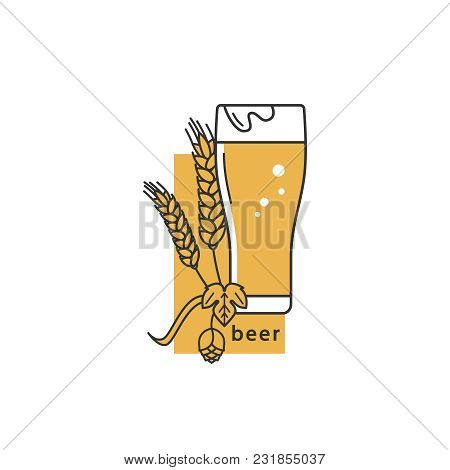 A Glass Of Beer, Hops And Wheat. Linear Icon. Sign, Symbol, Emblem, Label, Logo For Brewery, Beer Re