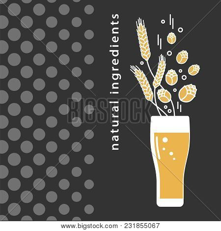 A Glass Of Beer, Hops, Wheat. Linear Icons In A Modern Style. Sign, Symbol, Emblem, Label, Logo For
