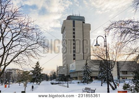 Varna, Bulgaria, February 28, 2018: City Hall Of Varna Covered With After The Blizzard Storm And Col