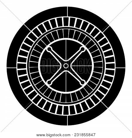 Roulette Icon Black Color Vector Illustration Flat Style Simple Image