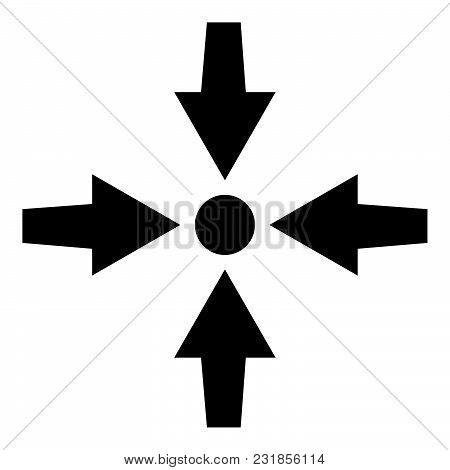 Four Arrows Point Show To Dot Icon Black Color Vector Illustration Flat Style Simple Image