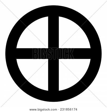 Symbol Earth Icon Black Color Vector Illustration Flat Style Simple Image