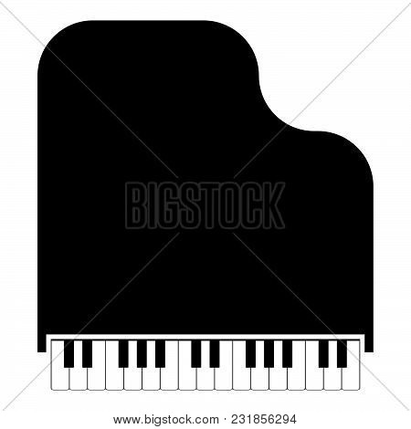 Grand Piano Icon Black Color Vector Illustration Flat Style Simple Image
