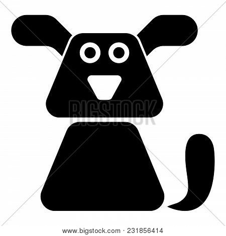 Dog Icon Black Color Vector Illustration Flat Style Simple Image