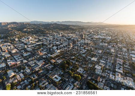 Los Angeles, California, USA - February 20, 2018:  Aerial view of clear dawn morning in the Hollywood neighborhood near downtown LA.