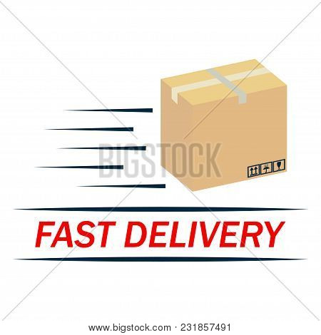 Fast Delivery Icon. Brown Box Packaging - Vector