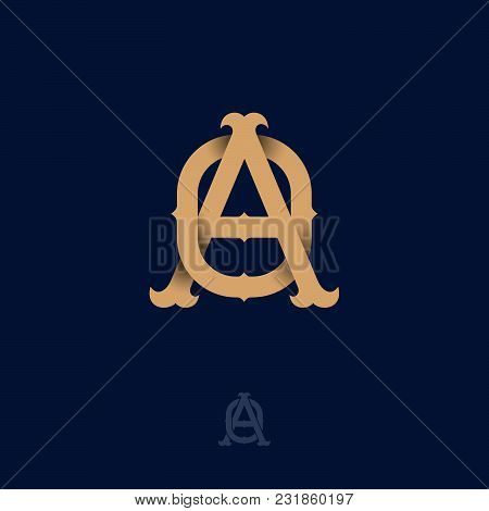 A And O Monogram. O And A Crossed Letters, Intertwined Letters Initials.