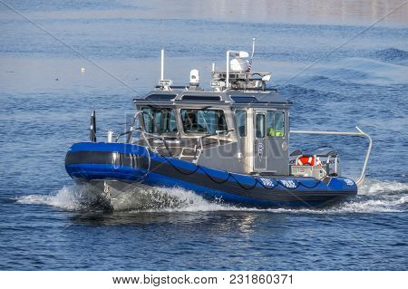 New Bedford, Massachusetts, Usa - March 1, 2018: Massachusetts State Police Defender Class Patrol Bo