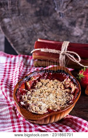 Homemade Pie With Strawberries. Pie Crumble With Strawberries And Rhubarb