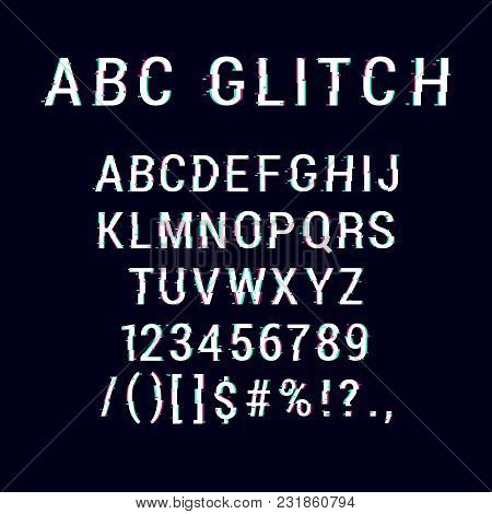 Vector Letters And Numbers. Fashion Style Distorted Bad Font. Noise Vector